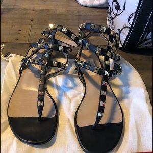 Valentino black rockstud sandals